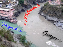 confluence of bhagirathi and alaknanda at devprayag